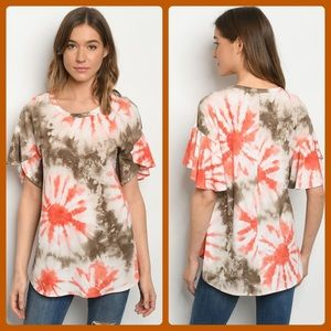 2 for $40❤️3 pack olive and orange tie-dye top
